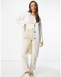 Pieces Alice Wool Blend Coat - White