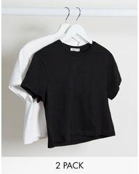 Stradivarius Confezione multipack di T-shirt corte nero e bianco