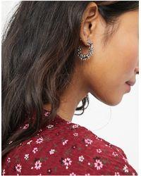 Warehouse Floral Hoop Earrings - Metallic