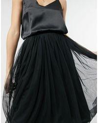 LACE & BEADS Tulle Midi Skirt - Black