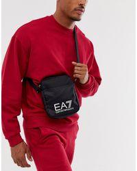 EA7 Черная Кожаная Сумка Через Плечо С Логотипом Train Prime - Многоцветный