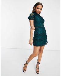 AX Paris Ярусное Кружевное Платье Мини Цвета Морской Волны -зеленый