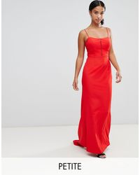 Jarlo Cami Strap Fishtail Maxi Dress With Lace Insert - Red