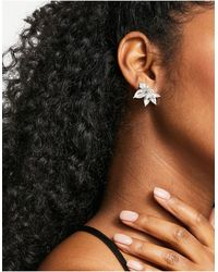 True Decadence Pearl And Crystal Stud Earrings - Metallic