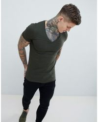 ASOS - Design Muscle Fit T-shirt With Deep V Neck - Lyst