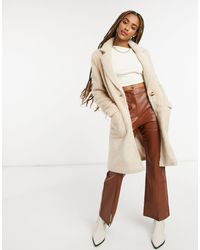 ONLY Faux Fur Longline Coat With Pocket Detail - Natural