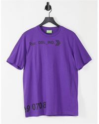 "DIESEL Фиолетовая Футболка С Надписью ""dsl Ind"" -фиолетовый Цвет - Пурпурный"