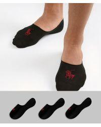 Polo Ralph Lauren - Player Logo 3 Pack No Show Socks In Black - Lyst