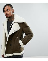 The New County Double Layered Biker Jacket In Faux Shearling - Green