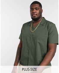 New Look Plus – Kurzärmliges Popeline-Hemd mit Reverskragen - Grün
