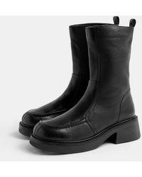 TOPSHOP Черные Ботинки Челси На Массивной Подошве -черный Цвет