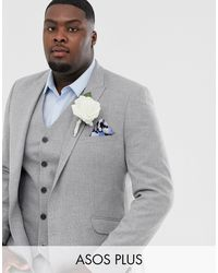 ASOS Plus – Wedding – Enge Anzugjacke mit Twist-Mikrostruktur - Grau
