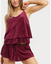 Ann Summers – twlight tease – set mit gerippter camisole und shorts aus samt - Rot