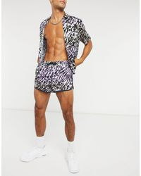 ASOS Runner Swim Shorts With Ombre Animal Print - Multicolour