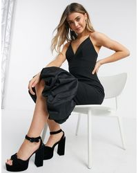 Forever New Черное Платье Миди С Глубоким Вырезом И Структурированной Атласной Оборкой -коричневый