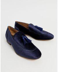 31d19df803e H by Hudson - Canton Tassel Loafers In Navy Velvet - Lyst