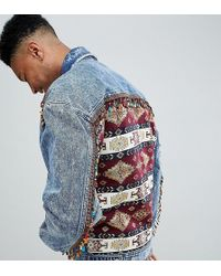 ASOS - Tall Oversized Denim Jacket With Back Print And Beading - Lyst