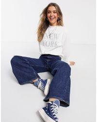 Abercrombie & Fitch Crew Neck New York Sweatshirt - White