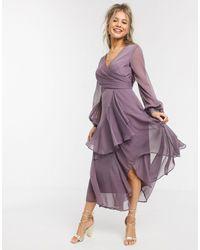 ASOS Wrap Waist Midi Dress With Double Layer Skirt And Long Sleeve - Purple