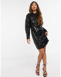 Vero Moda - Sequin Mini Dress With Volume Sleeve - Lyst