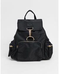 ASOS Nylon Backpack With Dog Clip Detail - Black