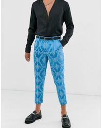 ASOS – Schmale, kurz geschnittene Anzughose aus blauem Jacquard