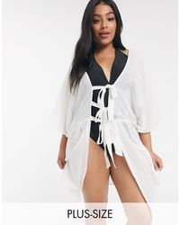 Brave Soul Amira Beach Dress With Triple Tie Front - White
