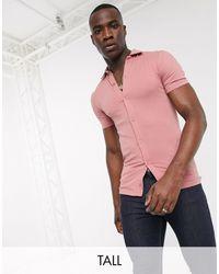 ASOS Camisa rosa ajustada en tejido