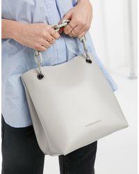 Claudia Canova Bucket Tote Bag With Chunky Chain - Gray
