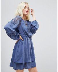 Hazel | Lace Panelled Long Sleeved Dress | Lyst