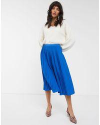 Dr. Denim Pleated Midi Skirt-blue