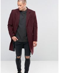 ASOS - Wool Mix Overcoat In Burgundy - Lyst