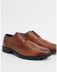 Redfoot Chaussures richelieu en cuir à semelles chunky - Marron
