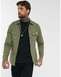 Liquor N Poker Muscle Fit Denim Shirt - Green