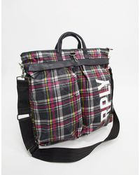 Replay Checked Shopper Bag - Red