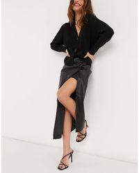 River Island Faux Leather Twist Wrap Midi Skirt - Black