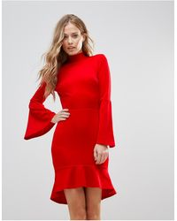 Oh My Love Pephem Midi Dress With Flare Sleeve - Red