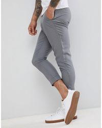 BoohooMAN - Cropped Pinstripe Trousers In Grey - Lyst