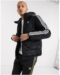 adidas Originals Черный Пуховик С 3 Полосками