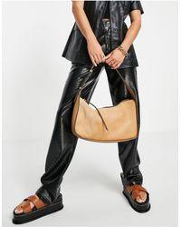 Mango Real Suede Shoulder Bag - Brown