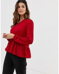 Y.A.S Yas Lumine Blouse With Frill Hem Detail - Red