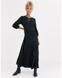New Look Ярусное Свободное Платье В Горошек -черный Цвет