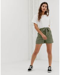 Glamorous Relaxed Shorts With Paper Bag Waist - Blue