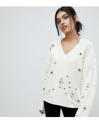 ASOS - Tall Jumper With V-neck And Rolled Edges - Lyst