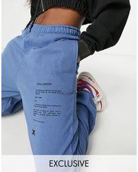 Collusion Unisex – Blues – Oversize-Jogginghose mit Print, Kombiteil - Blau