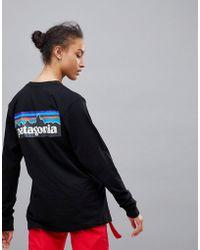 Patagonia - P-6 Back Logo Long Sleeve Top In Black - Lyst