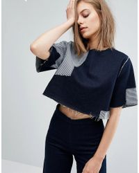WÅVEN | Ria Cropped Denim Top With Patches | Lyst