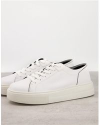 Pull&Bear Белые Кроссовки На Платформе -белый