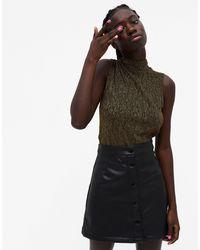 Monki Mimmi Glitter Sleeveless High-neck Top - Black