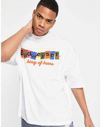 ASOS Oversized T-shirt With Vintage Budweiser Print - White